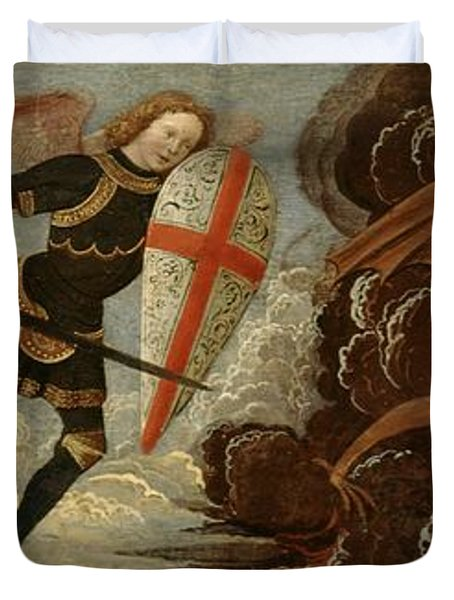 St. Michael And The Angels At War With The Devil Duvet Cover