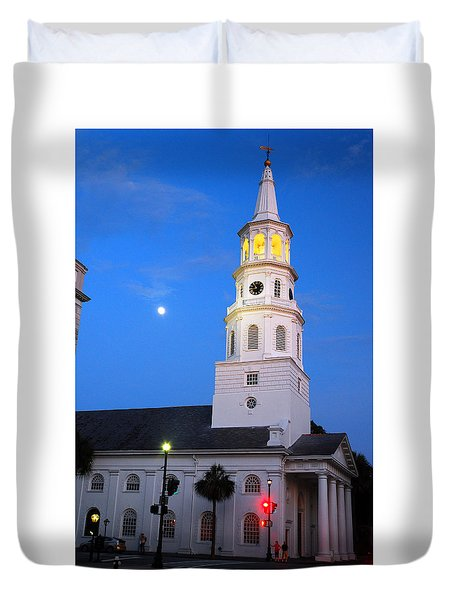Duvet Cover featuring the photograph St Michaels By Moonlight by James Kirkikis