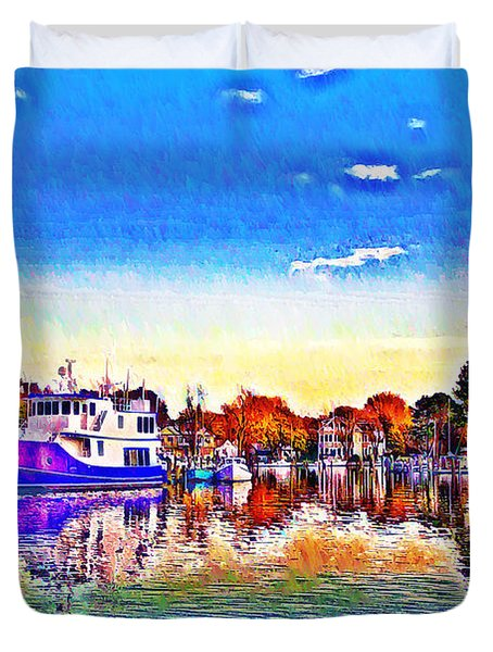 St. Michael's Marina Duvet Cover by Bill Cannon