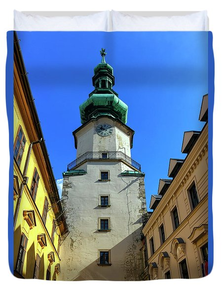 St Michael's Tower In The Old City, Bratislava, Slovakia, Europe Duvet Cover by Elenarts - Elena Duvernay photo