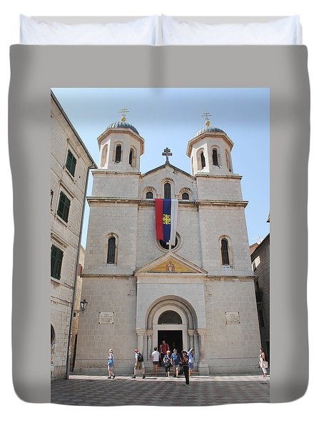 Duvet Cover featuring the photograph St Nicholas Kotor by Robert Moss