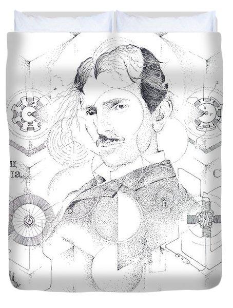 St. Nikola Tesla Of Serbia Sombra De Arreguin Duvet Cover