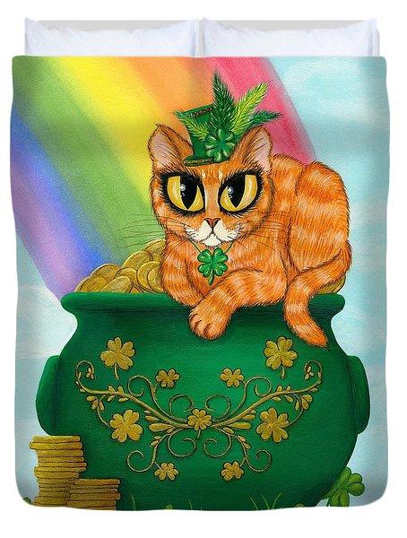 St. Paddy's Day Cat - Orange Tabby Duvet Cover
