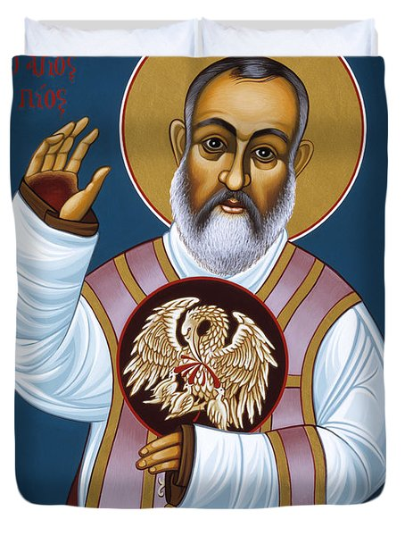St Padre Pio Mother Pelican 047 Duvet Cover