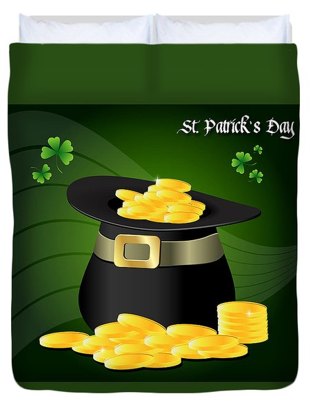 St. Patrick's Day Gold Coins In Hat Duvet Cover