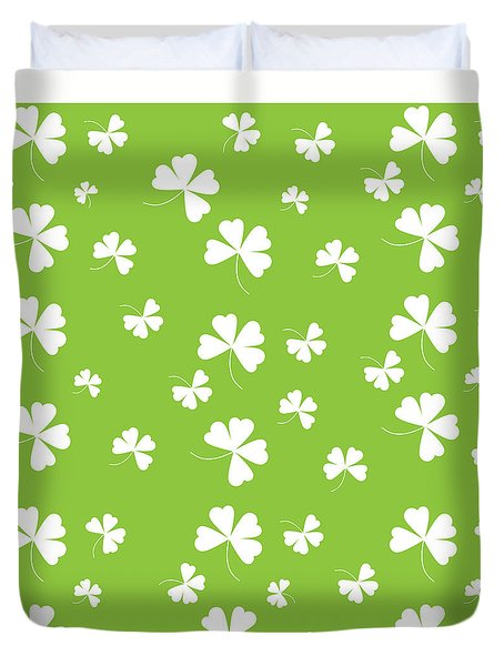 St. Patrick's Four Leaf Clover Background Duvet Cover