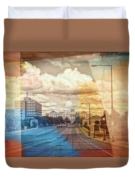Duvet Cover featuring the photograph St. Paul Capital Building by Susan Stone