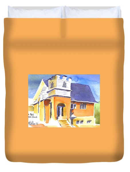 Duvet Cover featuring the painting St. Paul Lutheran 3 Impressions by Kip DeVore