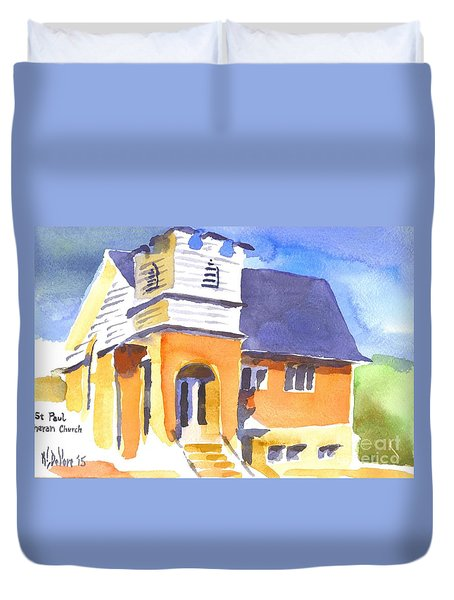 Duvet Cover featuring the painting St Paul Lutheran 3 by Kip DeVore