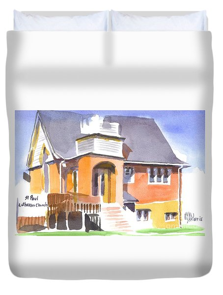 Duvet Cover featuring the painting St Paul Lutheran In Watercolor 2 by Kip DeVore