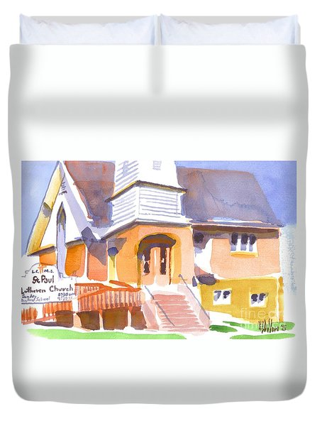 Duvet Cover featuring the painting St. Paul Lutheran Ironton Missouri by Kip DeVore