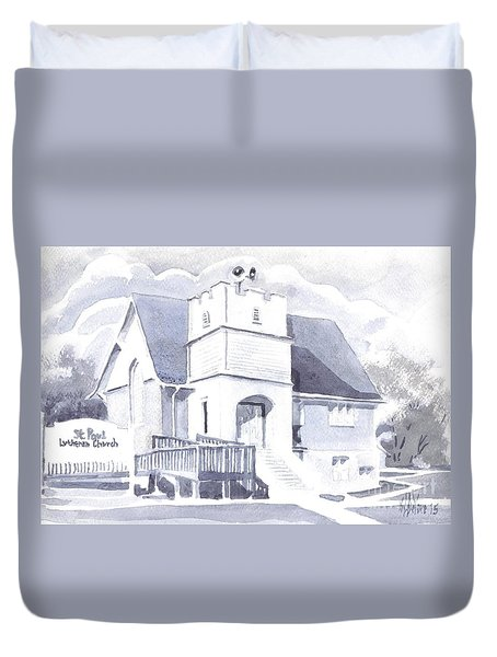 Duvet Cover featuring the painting St. Paul Lutheran Church 2 by Kip DeVore