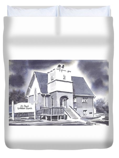 Duvet Cover featuring the painting St Paul Lutheran With Ink by Kip DeVore