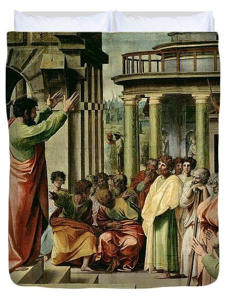 St. Paul Preaching At Athens  Duvet Cover by Raphael