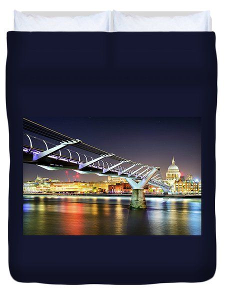 St Paul's Cathedral During Night From The Millennium Bridge Over River Thames, London, United Kingdom. Duvet Cover