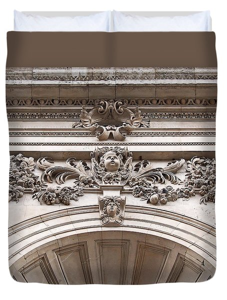 St Paul's Cathedral - Stone Carvings Duvet Cover by Rona Black