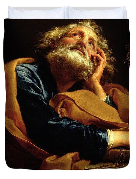 St Peter Duvet Cover by Pompeo Girolamo Batoni