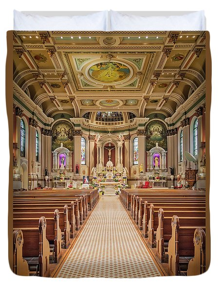 Duvet Cover featuring the photograph St Peter The Apostle Church Pa by Susan Candelario
