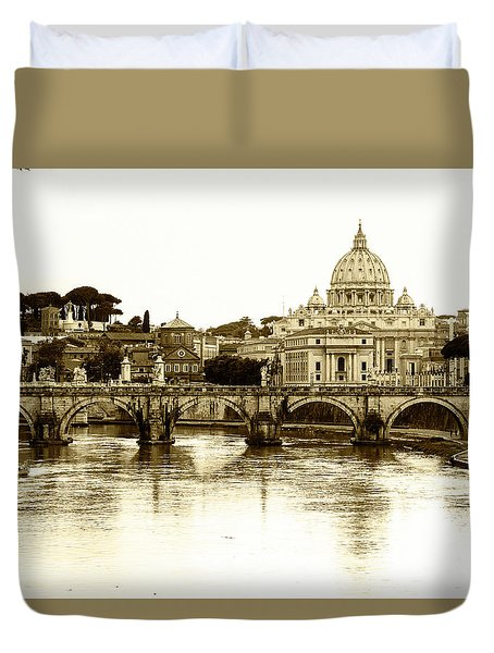 Duvet Cover featuring the photograph St. Peters Basilica by Mircea Costina Photography