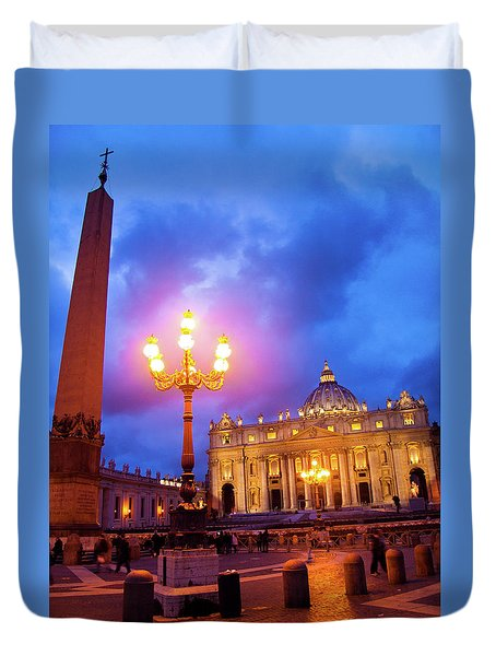 St. Peters Cathedral At Night Duvet Cover