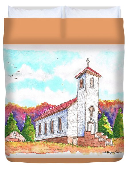 St. Peter's Catholic Church, Fayette, Mi Duvet Cover by Carlos G Groppa