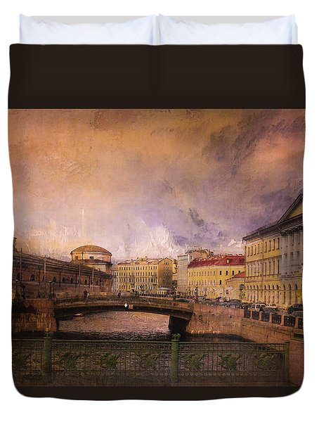 Duvet Cover featuring the photograph St Petersburg Canal by Jeff Burgess