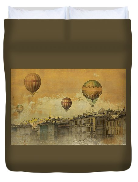 Duvet Cover featuring the digital art St Petersburg With Air Baloons by Jeff Burgess