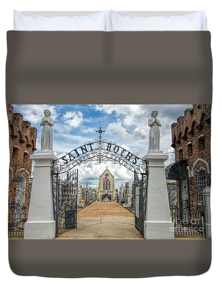 Duvet Cover featuring the photograph St. Roch's Cemetery In New Orleans, Louisiana by Bonnie Barry