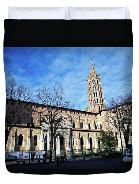 Duvet Cover featuring the photograph St Sernin Basilica by Cendrine Marrouat