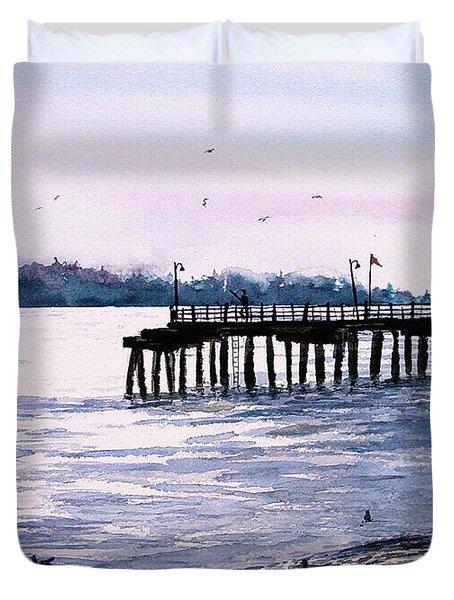 St. Simons Island Fishing Pier Duvet Cover