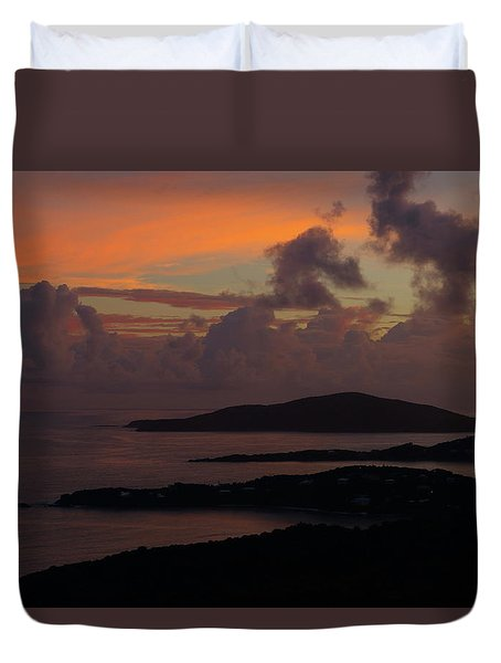 Duvet Cover featuring the photograph St Thomas Sunset At The U.s. Virgin Islands by Jetson Nguyen