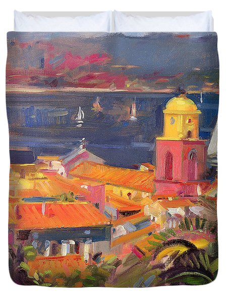 St Tropez Sailing Duvet Cover by Peter Graham