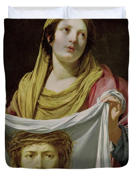 St. Veronica Holding The Holy Shroud Duvet Cover by Simon Vouet