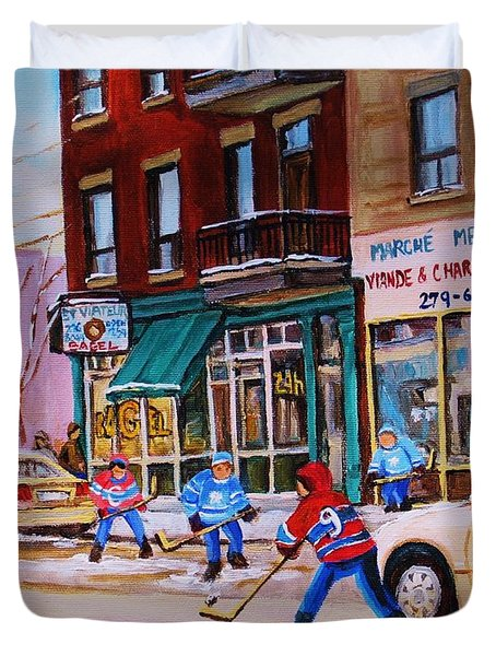 Duvet Cover featuring the painting St. Viateur Bagel With Boys Playing Hockey by Carole Spandau