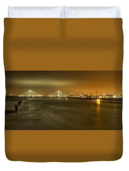 Sta Musial Bridge And St Louis Skyline Duvet Cover