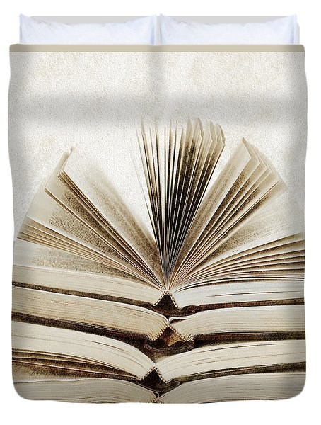 Stack Of Open Books Duvet Cover by Elena Elisseeva