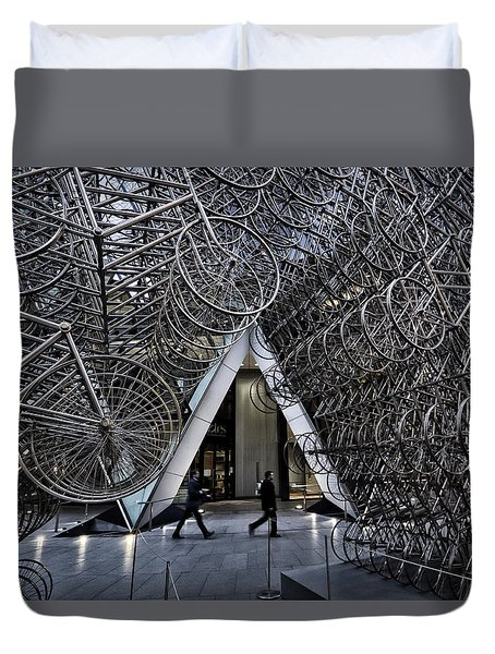 Stacked Bicycles  Duvet Cover by Shirley Mitchell