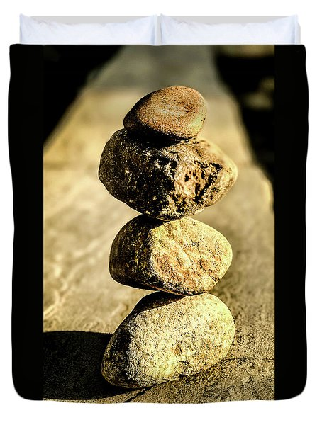 Duvet Cover featuring the photograph Stacked Rocks by Onyonet  Photo Studios