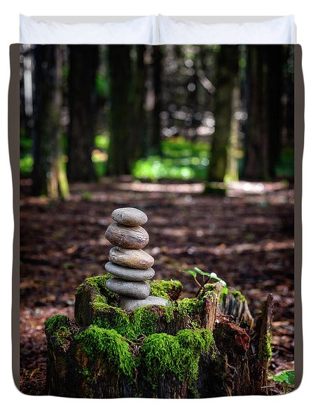 Duvet Cover featuring the photograph Stacked Stones And Fairy Tales IIi by Marco Oliveira