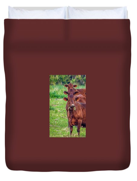 Duvet Cover featuring the photograph Stacked Up Cows          by Tom Claud