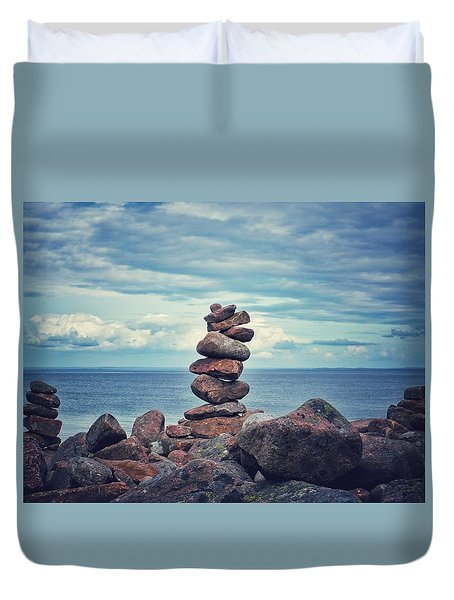 Stacked Zen Duvet Cover