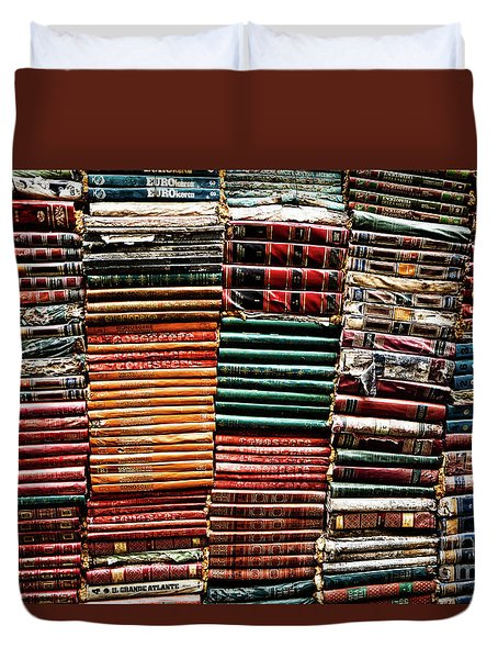 Stacks Of Books Duvet Cover