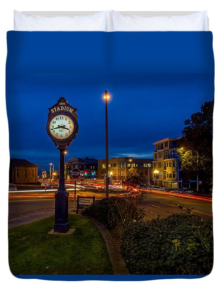 Stadium Clock During The Blue Hour Duvet Cover