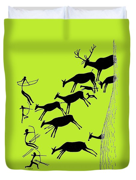 Stag Hunting In Valltoria Duvet Cover by Asok Mukhopadhyay
