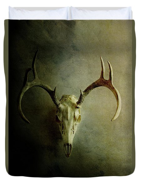 Duvet Cover featuring the photograph Stag Skull by Stephanie Frey
