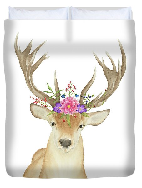 Duvet Cover featuring the painting Stag Watercolor  by Taylan Apukovska