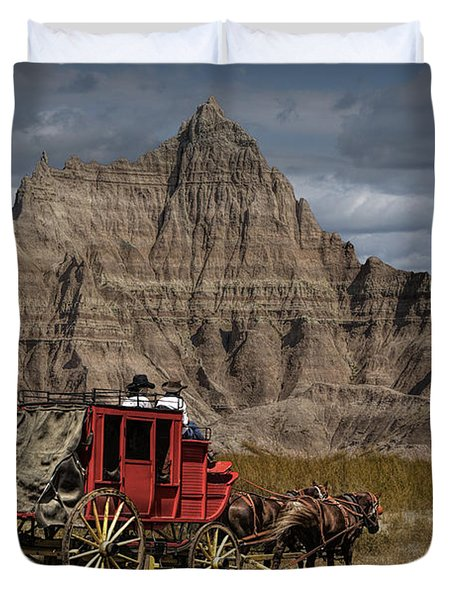 Stage Coach In The Badlands Duvet Cover by Randall Nyhof