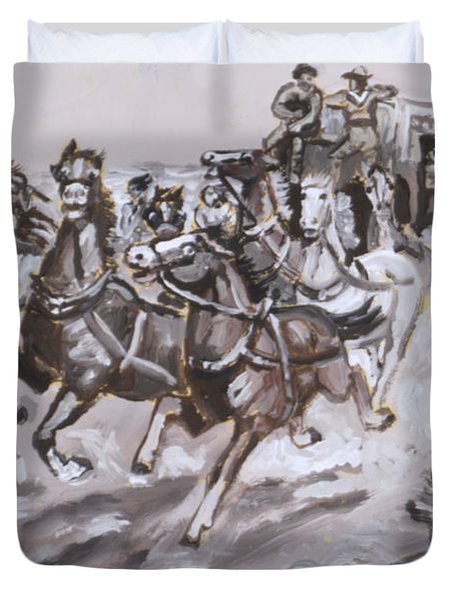 Stagecoach Attacked Historical Vignette Duvet Cover by Dawn Senior-Trask
