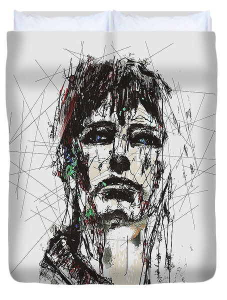 Staggered Abstract Portrait Duvet Cover