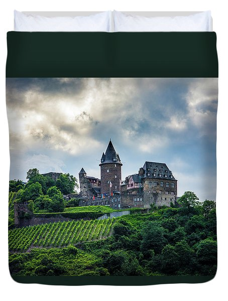 Duvet Cover featuring the photograph Stahleck Castle by David Morefield